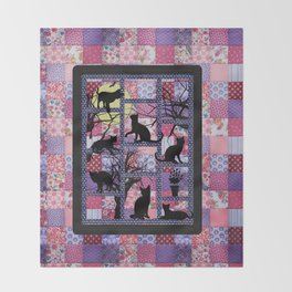 Night Cats on Patchwork Throw Blanket