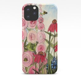 Cottage Garden Flower Whimsical Acrylic Painting iPhone Case