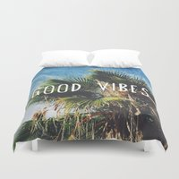 good vibes Duvet Covers featuring good vibes by Hillary Murphy