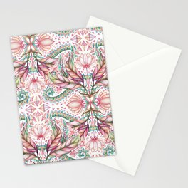 Lily, Leaf & Triangle Pattern – multi-color version Stationery Cards