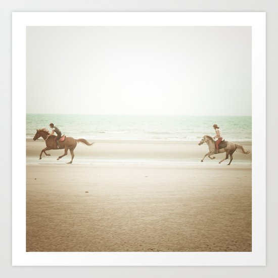Horses on the Beach Art Print