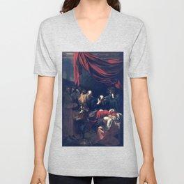 Caravaggio Death of the Virgin Unisex V-Neck
