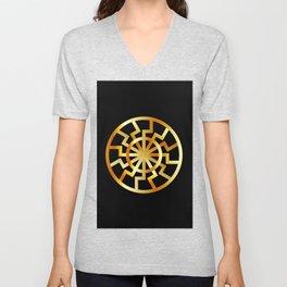 Black Sun symbol in gold- Schwarze Sonne- Occult subculture symbol Unisex V-Neck