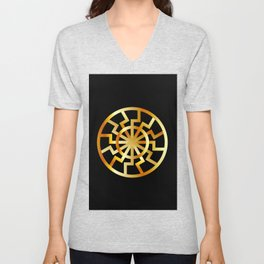 Black Sun symbol in gold- Schwarze Sonne- Occult subculture symbol Unisex V-Neck