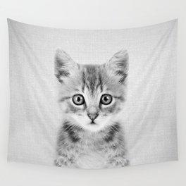 Kitten - Black & White Wall Tapestry
