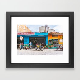 On the Street, Guatape, Colombia Framed Art Print