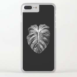 Monstera Deliciosa Black and White Clear iPhone Case