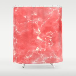Living coral white modern abstract marble Shower Curtain