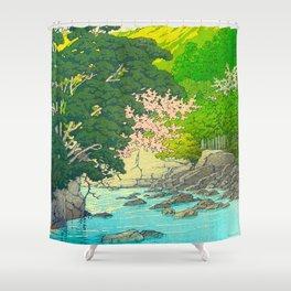 Vintage Japanese Woodblock Print Beautiful Water Creek Grey Rocks Green Trees Shower Curtain