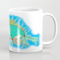 steam punk Mugs featuring Whimsical Steam Punk Fish by J&C Creations