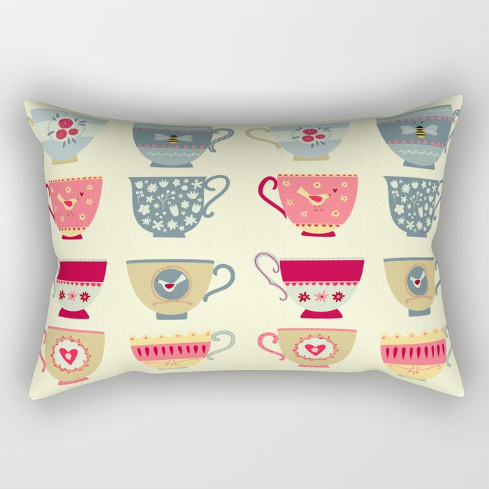 Tea Cups Rectangular Pillow