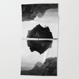 Black and White Isolation Island Beach Towel