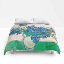 Irises by Vincent van Gogh Oil Painting Still Life Floral Arrangement In Vase Comforters