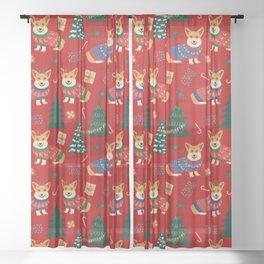 Merry Corgmess- Corgi Celebrate Christmas 2 - Xmas Red Sheer Curtain
