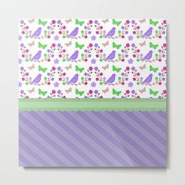Delightful Butterflies And Birds Green Ribbon  Metal Print