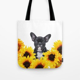 French Bulldog with sunflowers Tote Bag