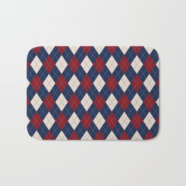 Burgundy Sand Blue Argyle Bath Mat