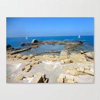 israel Canvas Prints featuring Caesarea, Israel by Camille Renee