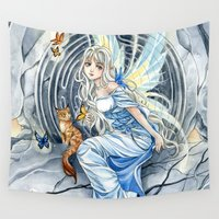 labyrinth Wall Tapestries featuring Labyrinth Fairy by Meredith Dillman