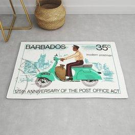 1976 BARBADOS Modern Postman Postage Stamp Rug