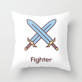 Cute Dungeons and Dragons Fighter class Throw Pillow