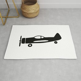 Black and white drawing of plane Rug