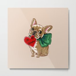Be My Valentine Frenchie Metal Print
