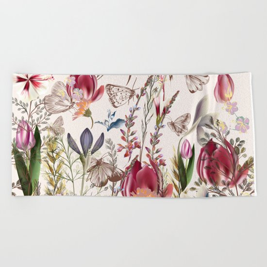 Bright spring field. Romantic pattern Beach Towel