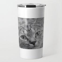 Black and White Cat Face Travel Mug