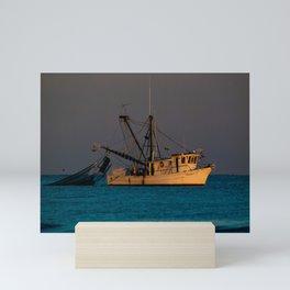 Tucker J fishing boat Mini Art Print