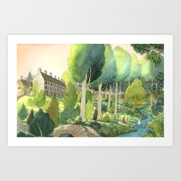 Painting By The Stream Art Print