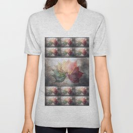 Colorful Fall Leaves Pattern Unisex V-Neck