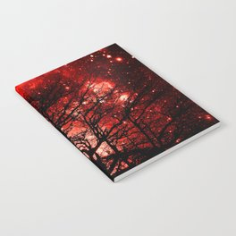 black trees red space Notebook