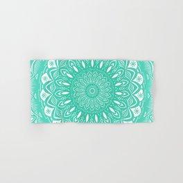 Minimal Aqua Seafoam Mint Green Mandala Simple Minimalistic Hand & Bath Towel