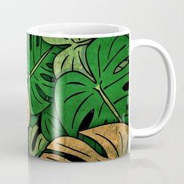 Grunge Monstera Leaves Coffee Mug