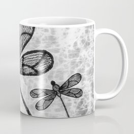 Bold black and white embroidered dragonflies on texture Coffee Mug
