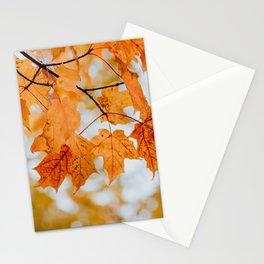 Orange Autumn Leaves Stationery Cards