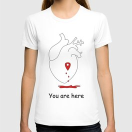 love concept illustration with human heart and map location T-shirt