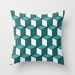 Green and White Cubes Throw Pillow