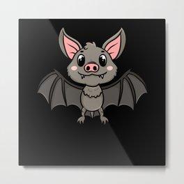 Fruit Bat Cute Bat Gift Motif Metal Print