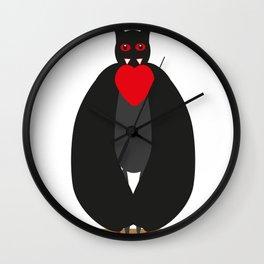 Vampire bat with heart Wall Clock