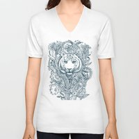tiger V-neck T-shirts featuring Tiger Tangle by micklyn