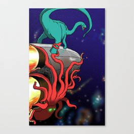 Part 2: Brontosorus Vs. The Space Octopus Canvas Print