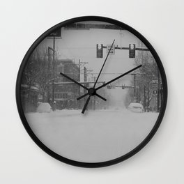 Snow Storm in Downtown - One Way Wall Clock