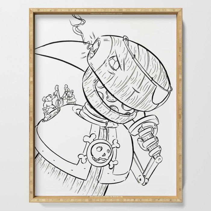 Robot Pirate - ink Serving Tray
