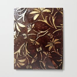 Old West - Embossed and gilded leather - original painting Metal Print