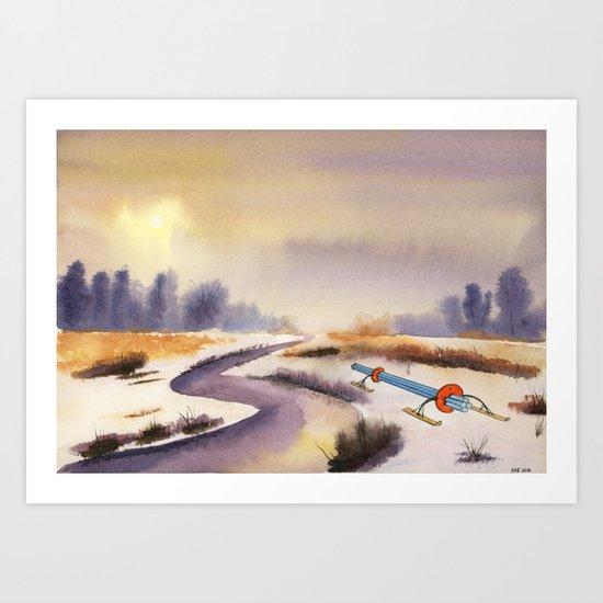 Sun breaking through the mist #4, Luigi left a sledge Art Print