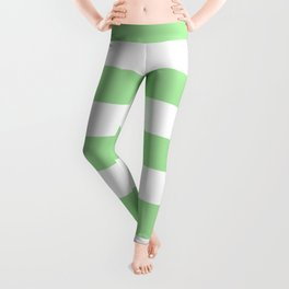 Granny Smith apple - solid color - white stripes pattern Leggings