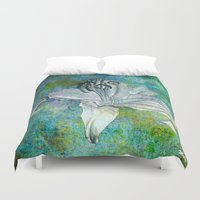 lily Duvet Covers featuring Lily by Saundra Myles