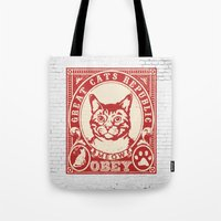 obey Tote Bags featuring OBEY by solomnikov